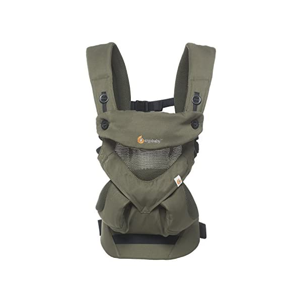 Ergobaby Baby Carrier up to 3 years (12-45 lbs) 360 Cool Air Khaki Green, 4 Ergonomic Carry Positions, Front Back Baby Carrier front facing, Backpack Ergobaby Ergonomic baby carrier for the summer, with 4 ergonomic carry positions: front-inward, back, hip, and front-outward. The carrier is suitable for babies and toddlers weighing 5.5-20 kg (12-45 lbs), and can be used as a back carrier. Also with insert for newborn babies weighing 3.2-5.5 kg (7-12 lbs), sold separately. NEW - The waistbelt with lumbar support can be worn a little higher or lower to support the lower back and provide optimal comfort, and has adjustable padded shoulder straps. The carrier is suitable for men and women. Maximum baby comfort - Breathable 3D air mesh material provides an optimal temperature for your baby on warm days. The structured bucket seat supports the correct frog-leg position for the baby. The carrier also has a neck support and privacy hood with 50+ UV sun protection. 1