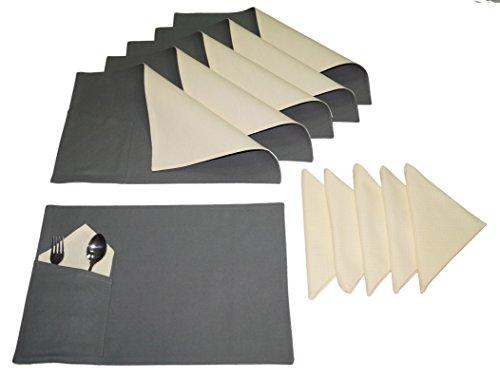 lushome reversibile in cotone tasca Tovagliette con tovagliolo, Tavolo-Set di 12, Cotone, Black and Beige, (Reversibile Mat)