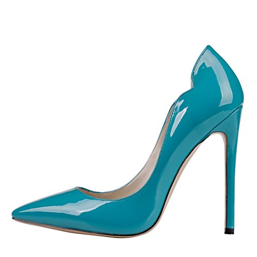 EKS , Escarpins femme Bleu - Blau-Lackleder