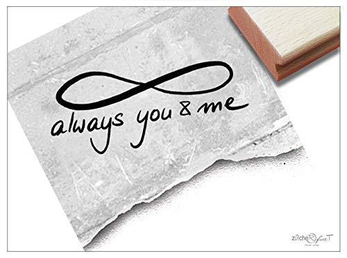 Stempel Textstempel Always You & ME mit Infinity - Schriftstempel Liebe Freundschaft Valentinstag Verlobung Hochzeit Karten Deko - zAcheR-fineT -