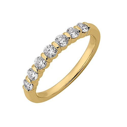 Diamond Delight da donna 18 K, 7 canali di pietra, SI1-Anello nuziale SI2, 1/2 carato) e Oro giallo, 13,5, cod. RG34544-SI1SI2-18KY-7
