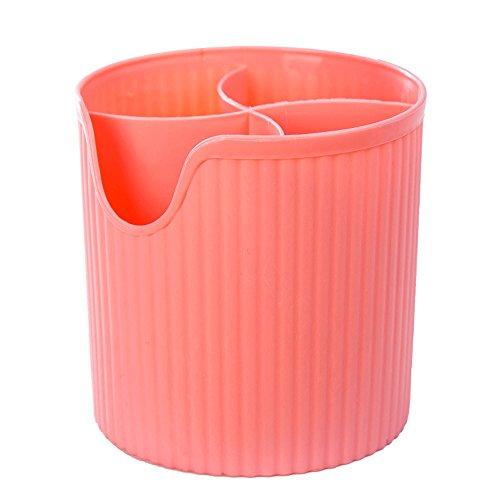 asentechuk® Multifunktions-Stäbchen Käfig Ablauf Aufbewahrungsbox Zahnbürste Göffel Löffel Besteck Halter Trocknen Organizer, Polypropylen, rose, 12 x 12.3cm