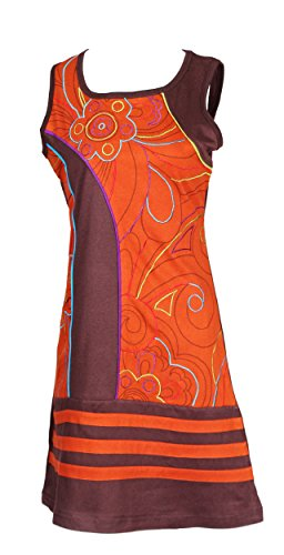Robe sans manches de la femme avec des fleurs colorés Doublure Broderie brown