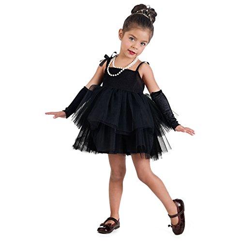 Hollywood Filmstar Kostüm Kinder Ballerina Kleid Mädchen mit Stulpen schwarz - 3 (Kleider Hollywood Motto)
