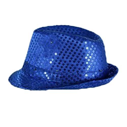 Carry stone LED blinkende Silberne Pailletten-Jazz-Hut-Partei-Neuheit-Kostüm Bling-Hüte Blau nützlich und praktisch (Baby Nudel Kostüm)