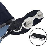 Novelfun Baby Pushchair/Pram/Stroller/Buggy/Baby Carriage Fleece Hand Muff/Hand Gloves/Hand Warmer Waterproof Windproof Anti-Freeze Extra Thick Pram Accessories Baby Stroller Gloves, Black