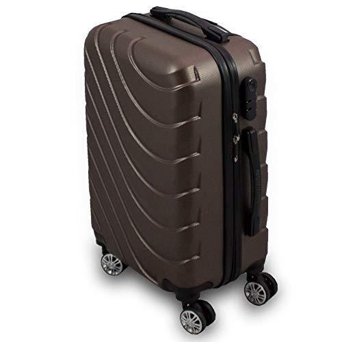 Trolley Hartschalen Koffer Hartschalenkoffer Hardcase Größe M - Modell Wave 2018 (Braun)