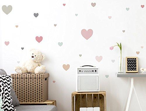 I-love-Wandtattoo WAS-10428 Kinderzimmer Wandsticker Set Herzen in zarten Pastelltönen 25 Stück Herzmotive zum Kleben Wandtattoo...