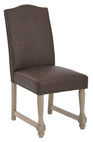 Kingman Dining Chair with Antique Bronze Nailheads and Brushed Legs Espresso Bonded Leather by Office Star