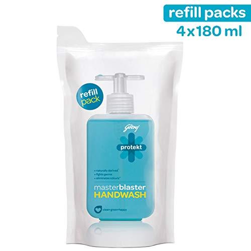 Godrej Protekt Masterblaster Liquid Handwash Refill, Pack of 4 (180ml each)