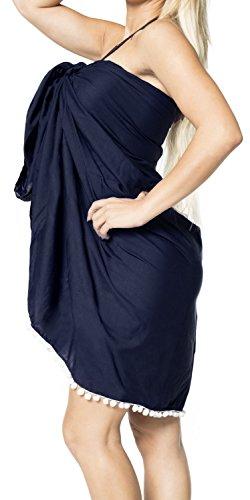 base rayon costume da bagno spiaggia del pannello esterno del bikini beachwear coprire costumi da bagno involucro sarong Blu 2