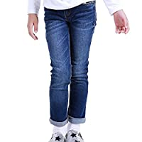 NABER Kids Girls' Casual Elastic Waist Denim Washed Jeans Age 10-11 Years