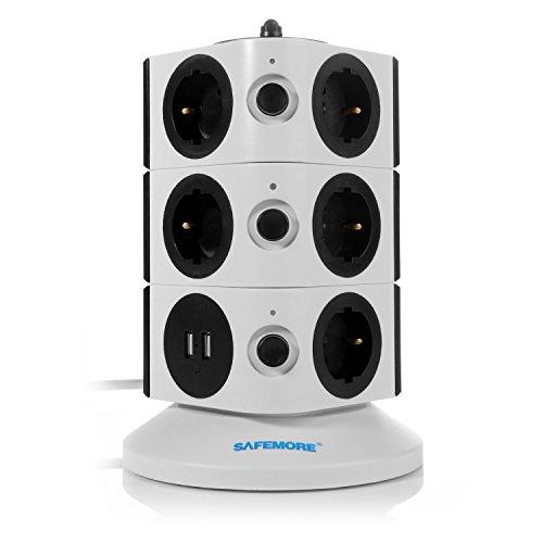 SAFEMORE Regleta de Enchufes Vertical de 11 Tomas Corrientes y 2 Rapida USB, Torre Ladron Alargador,...