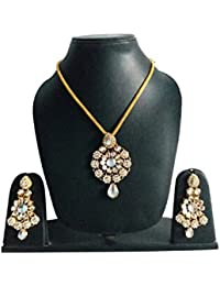 Beautiful Designer Gold Plated Floral Design Pendant Set With White Stone For Party And Wedding