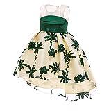 BBestseller Verano Princesa Niñas Vestido de Noche Swing Dress Encaje sin Mangas Bordado Vendimia de Falda Fiesta Cóctel Pettiskirt