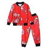 Quaan 24M-8T Kinder Baby Mädchen Jungen Kleider Einstellen Blumen Drucken Reißverschluss Oberteile Mantel Hose Outfits Warm Kleider niedlich Baumwolle warm weich gemütlich Outwear Sweatshirt