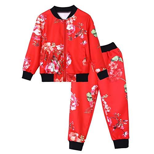 (Quaan 24M-8T Kinder Baby Mädchen Jungen Kleider Einstellen Blumen Drucken Reißverschluss Oberteile Mantel Hose Outfits Warm Kleider niedlich Baumwolle warm weich gemütlich Outwear Sweatshirt)