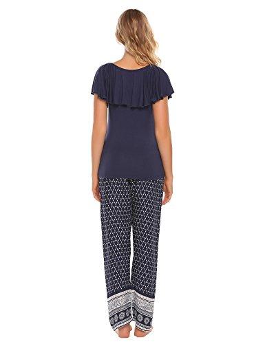 Ekouaer Beachwear Zweiteiliger lang Schlafanzug Sleepwear Casualwear Schönem Tops mit Bohemian hosen Blau