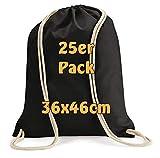 Cottonbagjoe Moderner Turnbeutel Baumwollrucksack Stoffbeutel mit Kordelzug schwarz 36x46cm 25 Beutel
