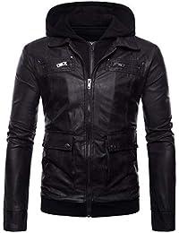 Elonglin Homme Veste de Moto à Capuche en Similicuir Zippé Jacket Biker  Manteaux à Capuche Veste 1a82bbcaa4ce