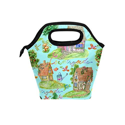 Ahomy Aquarell Gartenhaus, Vogel-Lunchtasche für Picknick, Schule, Büro, isolierte Lunchbox mit...