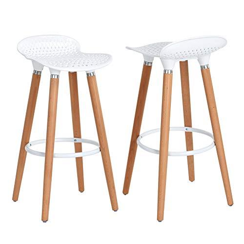 Asuuny sgabello da bar con gambe in legno, schienale basso e sedile ergonomico in plastica abs albs