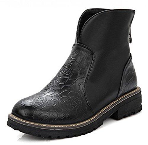 Easemax Femme Rétro Petit Talon Bout Rond Low Boots Bottines