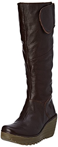 FLY London Damen Yule Langschaft Stiefel Braun (Dkbrown 009)