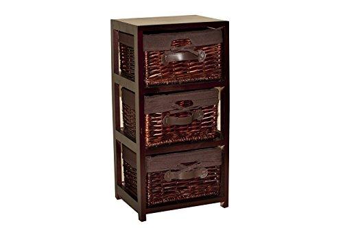 Borras Hnos - Mueble 3 cajones Mimbre Color Nogal. (Color: Marrón Tamaño: 30x25x60)