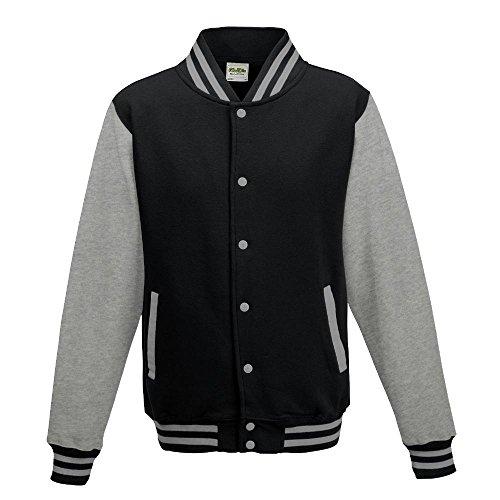 Just Hoods - Unisex College Jacke 'Varsity Jacket' Jet Black/Heather Grey