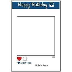 Weddecor Grande Social Networks Stile Cabina per fototessere Materiale di Scena Selfie Solo Telaio Happy Birthday Bash! 16,000 Likes per Get-Together, Azienda Evento, Compleanno,Matrimonio,Feste