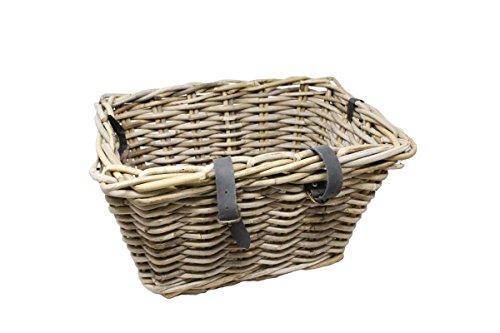 Eliware Geflochtener Fahrradkorb mit braunen Lederriemen