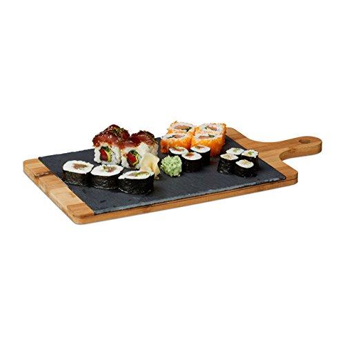 Relaxdays Planche de service en bambou avec plateau ardoise amovible et poignée HxlxP: 1,8 x 45 x 22,5 cm, gris