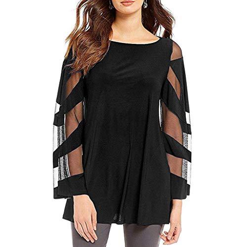 arm-Shirt Sommer Mode Rundhals Große Größe Lose Spitze Patchwork Bluse T-Shirt Freizeit Tüll Perspektive 3/4 Ärmel Oberteil Tops ()