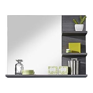 trendteam Badezimmer Wandspiegel Spiegel Badezimmerspiegel Miami, 72 x 57 x 17 cm in Rauchsilber Dekor mit Ablagefläche