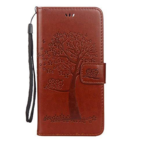 EUWLY Kompatibel mit Galaxy S7 Hülle Handyhülle Luxus Baum Eule Bookstyle LederHülle Ledertasche Schutzhülle Klappbar Handy Tasche Leder Flip Case Cover Mit Magnetverschluß,Braun