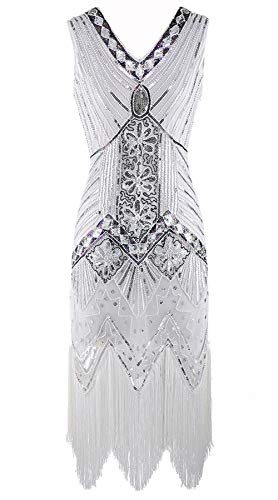 Alieyaes Damen Flapper Kleider Voller Pailletten Retro 1920er Jahre Stil V-Ausschnitt Great Gatsby Motto Party Abend Cocktail Kleid (Great Gatsby Tanz Kostüme)