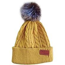 VENMO Niños Niñas Invierno Gorro de Algodón Carta de Punto Pelota Cálidos Dobladillo Sombreros (amarillo)