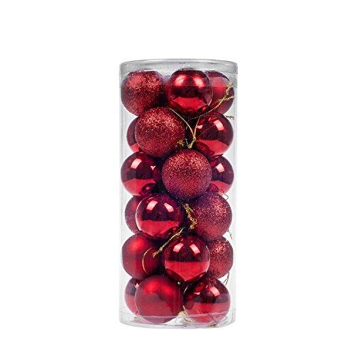 niceEshop TM) Christmas Baubles Tree Balls Decorations Ornament Xmas Tree Festival Party Pendant Baubles,24pcs,4cm,Red