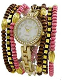 Geneva Platinum cuentas wrap watch-pink