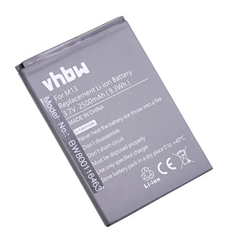 vhbw Li-Ion Akku 2500mAh (3.7V) für Handy Smartphone Telefon Timmy M13 Pro