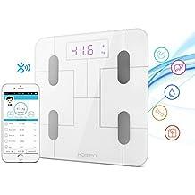 Báscula Baño, HOMPO Báscula de Baño Digital Bluetooth 4.0 con APP Medida de Peso Grasa Masa muscular y Osea Agua ect Pantalla Retroiluminada de Balanza Digital Baño para iOS y Android