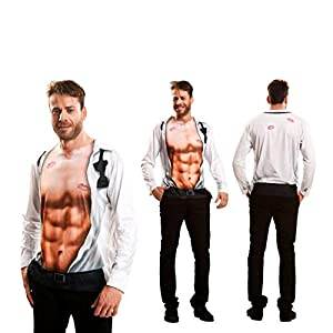 "Yijja Fast Fun (Charm Kingdom YJ00083) - Camiseta manga larga ""camisa con pecho descubierto"" para hombre, talla S"