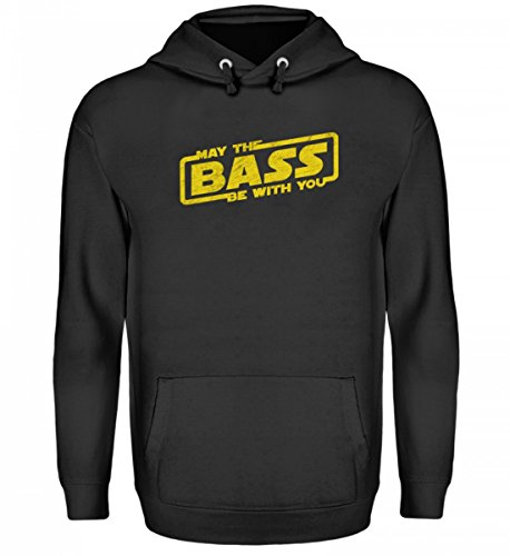 Hochwertiger Unisex Kapuzenpullover Hoodie - May The BASS Be With You - Möge der Bass mit dir sein - Electro Techno Party Festival