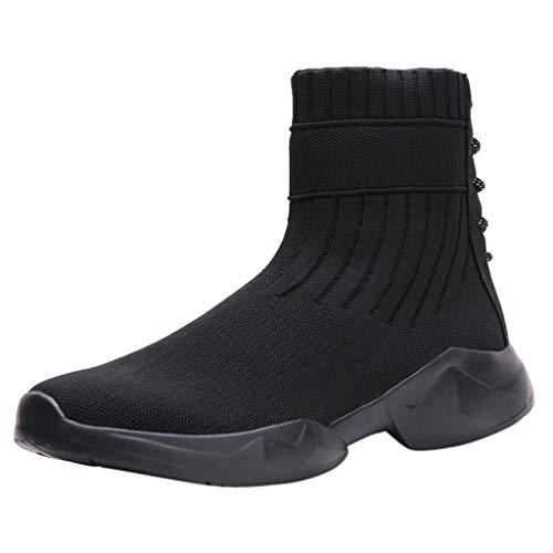 High Top Sportschuhe Damen Socken Schuhe Mesh Wicher Boden Kurze Stiefel Laufschuhe Elastische Freizeitschuhe Slip-On Sportschuhe Runing Breathable Turnschuhe, Schwarz, 40 EU