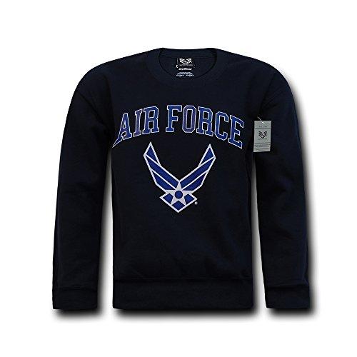 Rapiddominance Air Force Sweatshirt mit Rundhalsausschnitt, Herren Damen, Navy, Small Air Force-sweatshirt