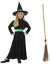 Oramics Hexenkostüm mit Hut für Kinder, Kinderkostüm Hexe für Mädchen inklusive Hexenbesen, Halloween Verkleidung, Zauberei und Magie an Fasching, Karneval und Kindergeburtstagen