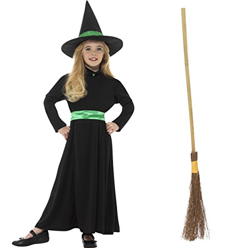 Oramics Hexenkostüm für Kinder, Verkleidung für Mädchen inklusive Hexenbesen, Halloween