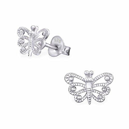 16Styles de boucles d'oreilles argent fille à choisir de Argent Sterling 925hypoallergénique-Boucles d'Oreilles Femme-avec boîte cadeau - Butterflies (No Colour)