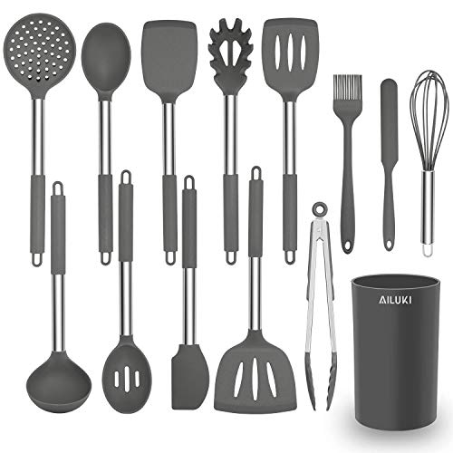 AILUKI Silikon Kochgeschirr Set, Küchengerät 14 teiliges Küchenhelfer Set, Antihaft Hitzebeständiger Silikonspatel Set, Küchenutensilien mit Edelstahlgriff Grau